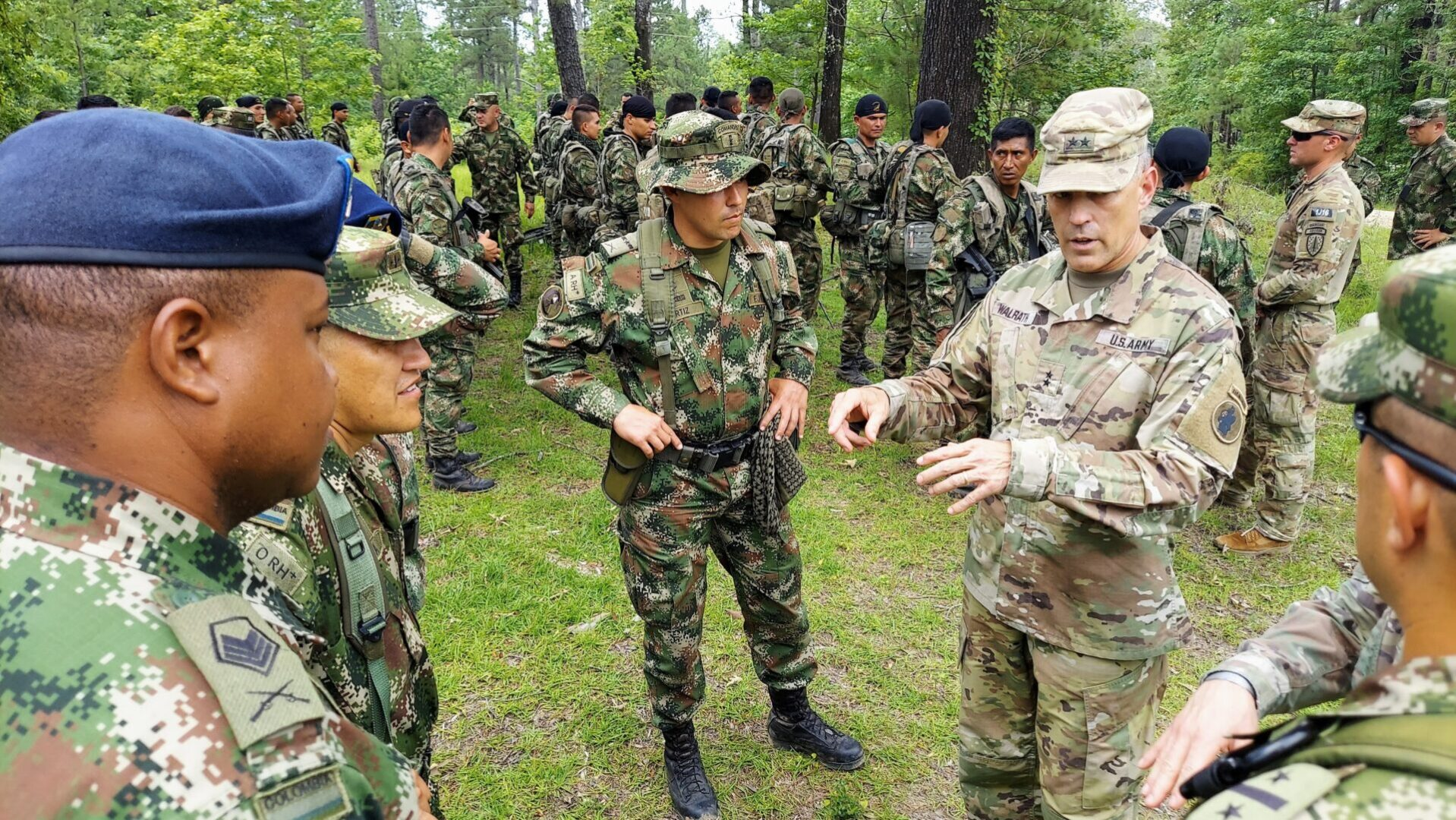 Maj. Gen. Daniel R. Walrath, right, U.S. Army South commanding general, greets Colombian soldiers during a visit to the Joint Readiness Training Center at Fort Polk, La., June 9, 2021. The Colombian Army is the second South American army to conduct bilateral training with a U.S. Army unit as part of a JRTC rotation.