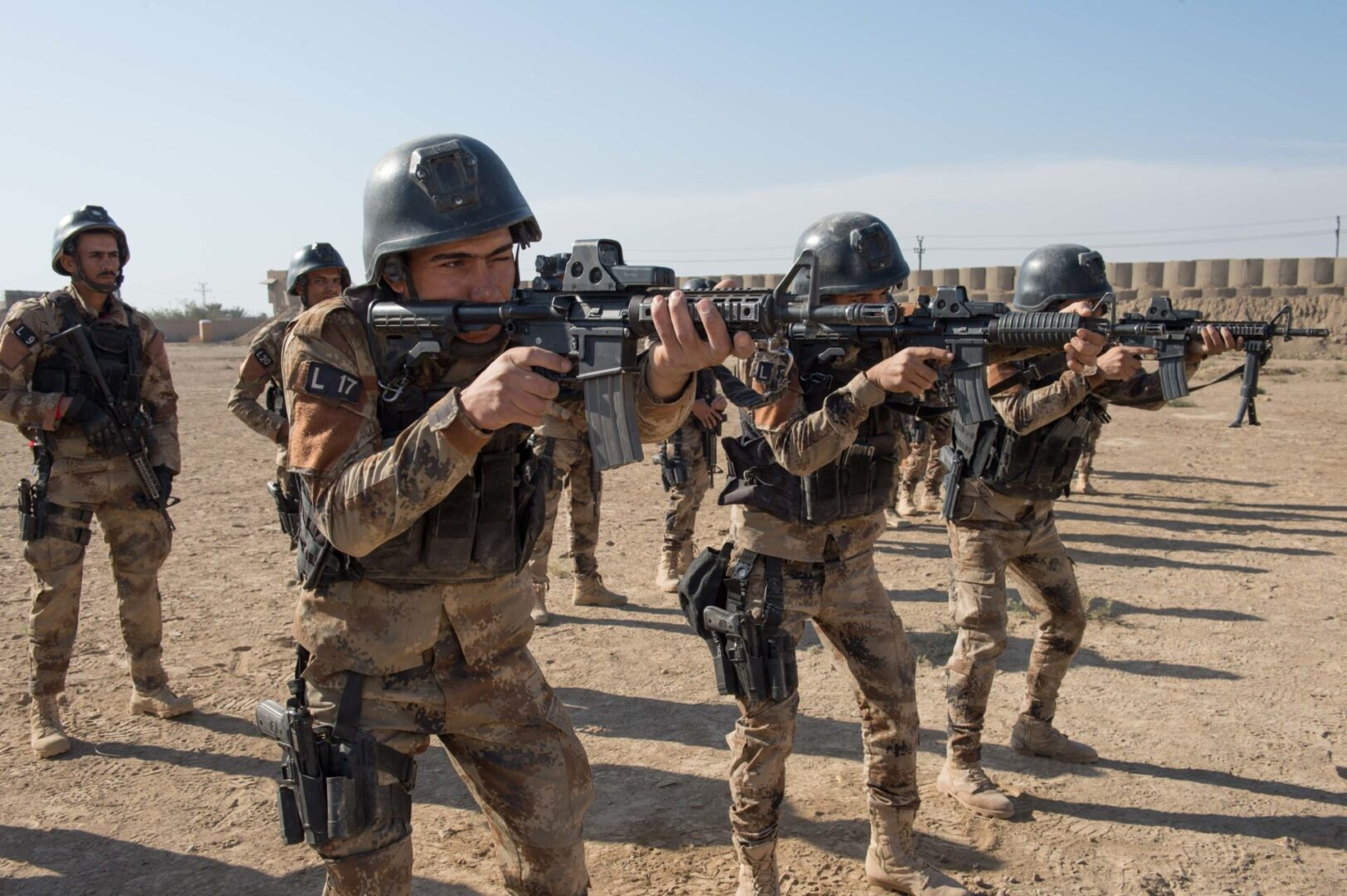 Iraq Army soldiers fire their rifles on a range as part of the Iraqi Counter-Terrorism Service's selection process near Baghdad, Nov. 8, 2016. The CTS is Iraq's elite counterterrorism force and has proven to be an effective fighting force against ISIL.   This training is part of the overall Combined Joint Task Force – Operation Inherent Resolve building partner capacity mission to increase the capacity of partnered forces fighting ISIL.   Combined Joint Task Force - OIR is the global Coalition to defeat ISIL in Iraq and Syria. (U.S. Army photo by Staff Sgt. Alex Manne)